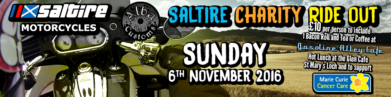 Saltire Motorcycles charity ride out 6th November 2016
