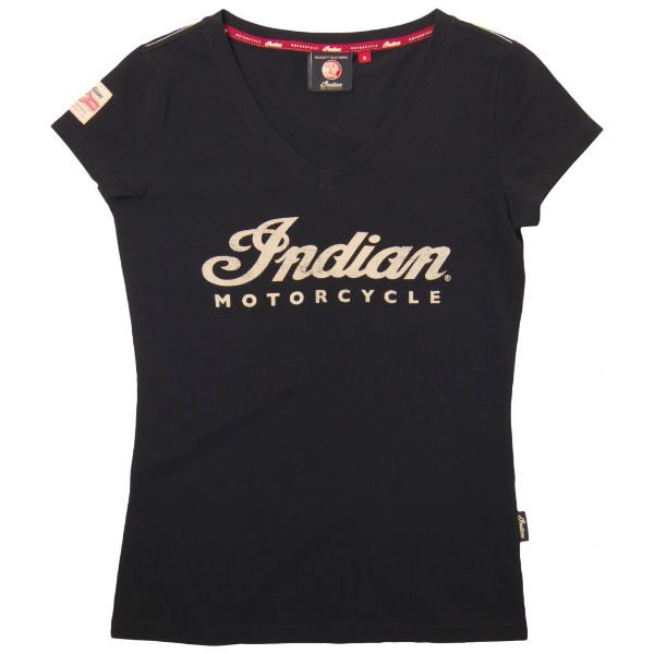 Indian Motorcycle Ladies T-Shirt V-Neck Ecru Logo
