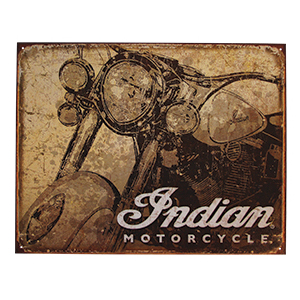 Indian Motorcycle Antiqued Metal Sign