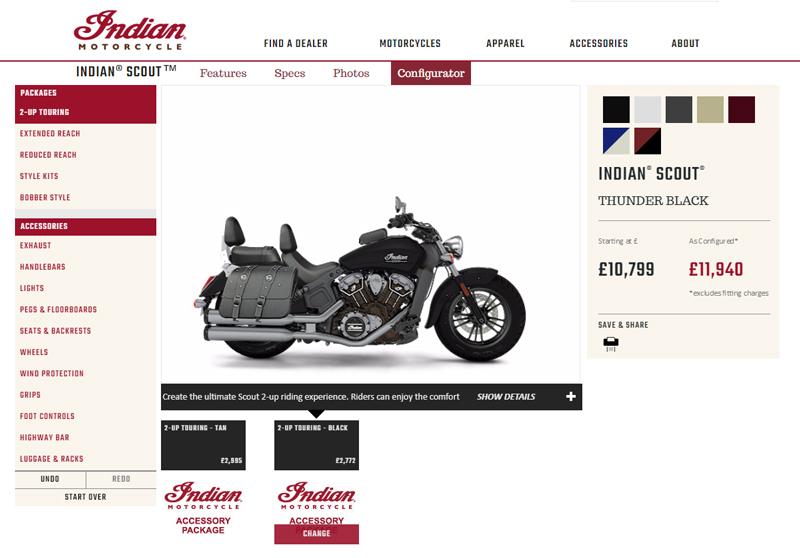 Indian motorcycle configurator