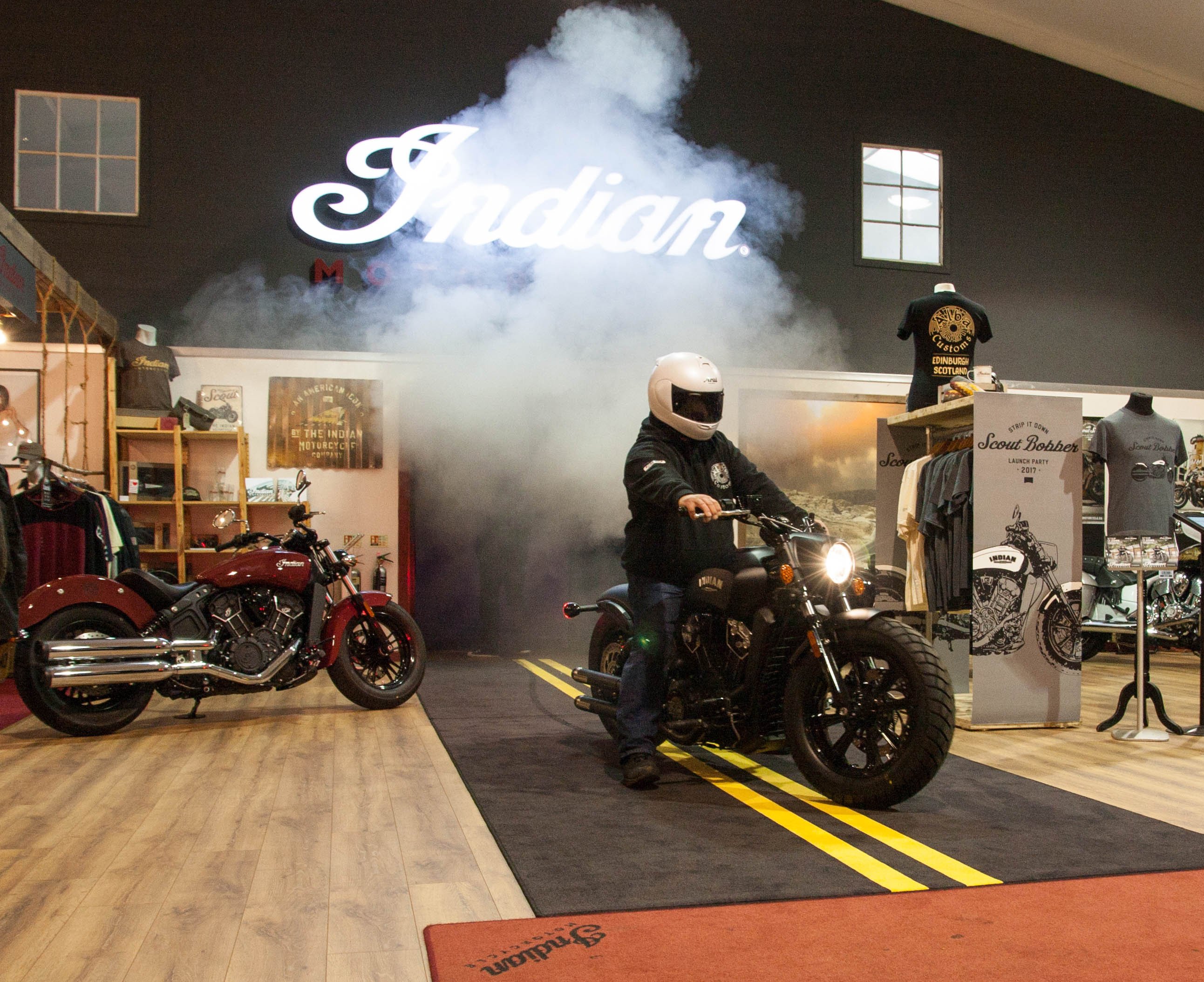 Indian Scout Bobber Launch burnout indoor Alba Customs