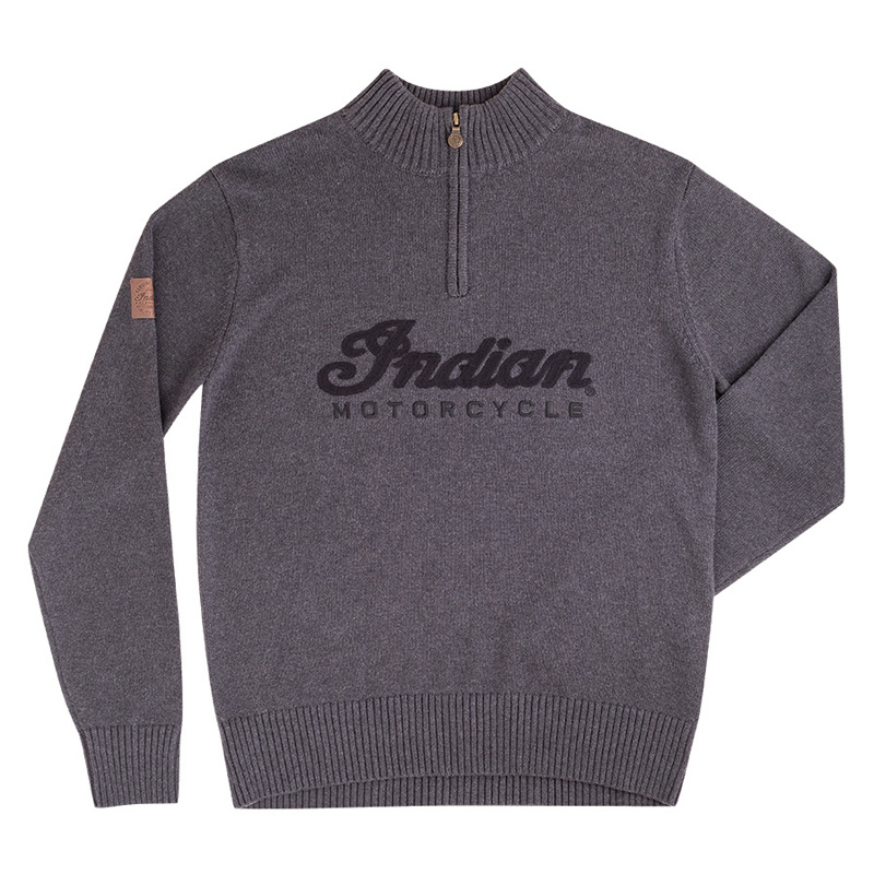 Indian Logo Qtr Zip Knit