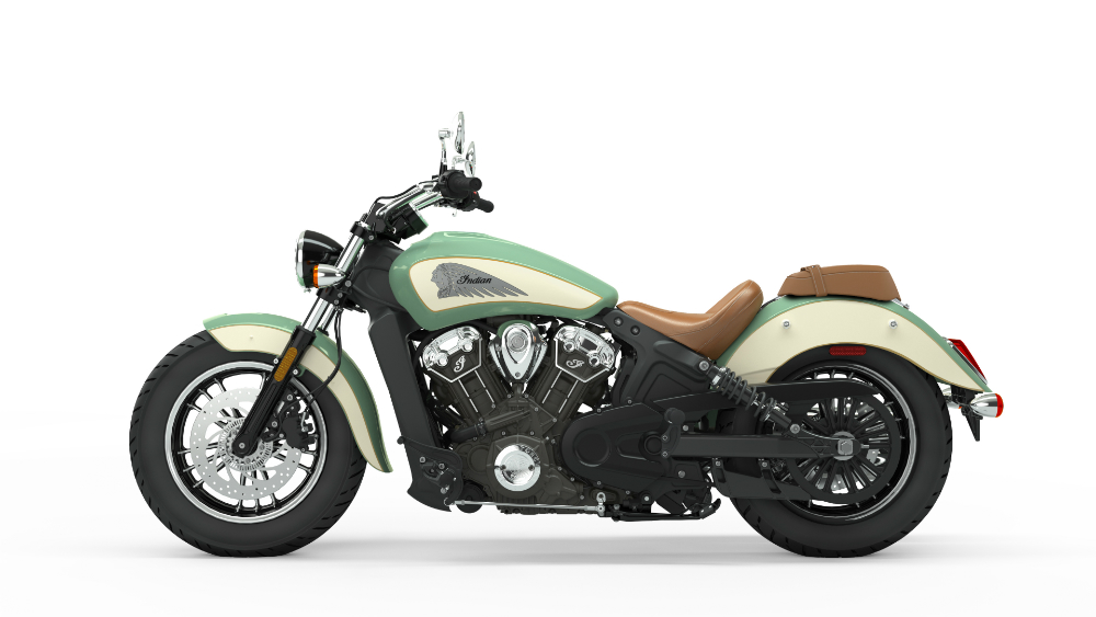 2019 Indian Scout Willow Green over Ivory Cream with Gold Pinstripe
