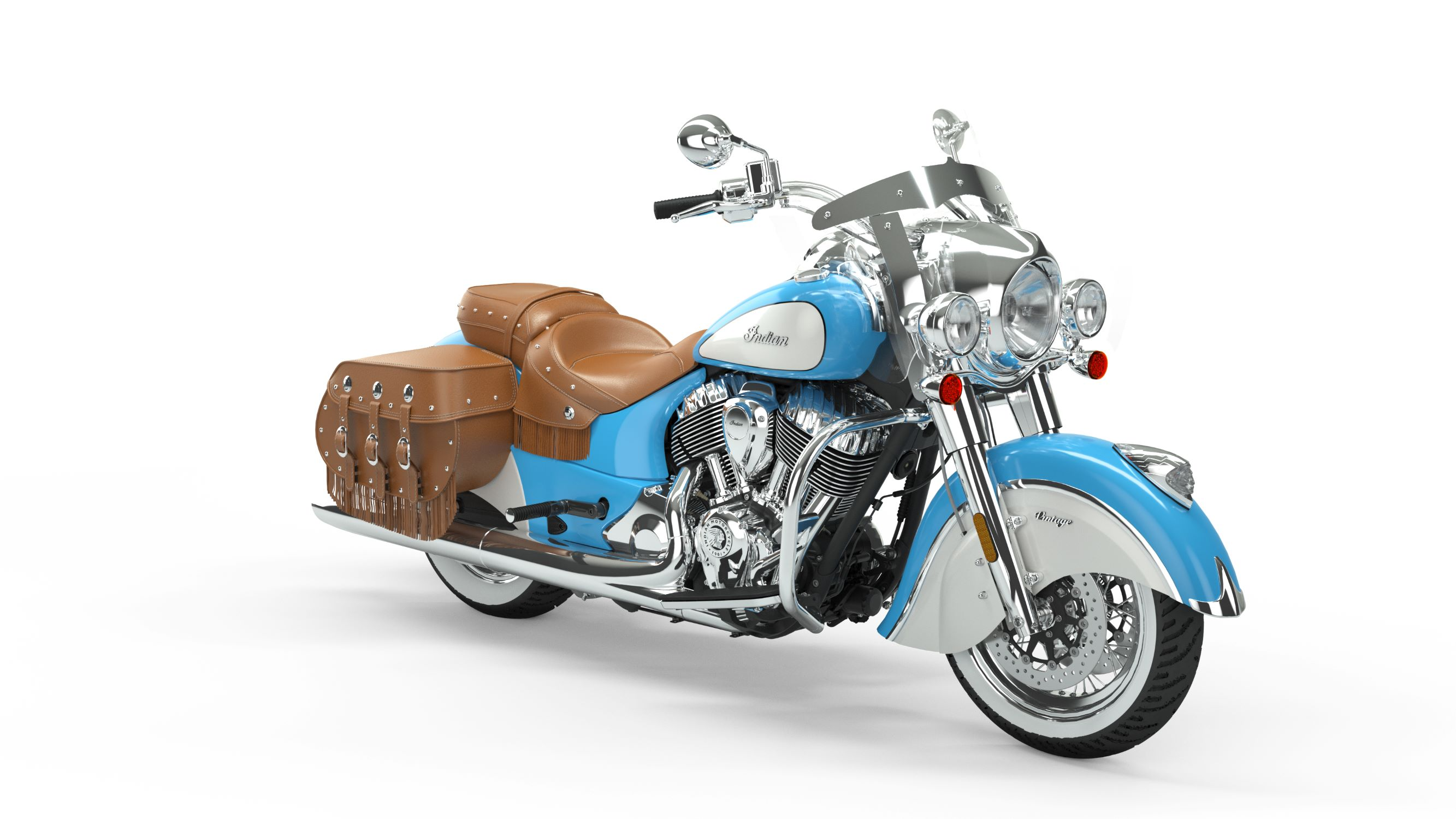 2019 Indian Chief Vintage Skye Blue over Pearl White
