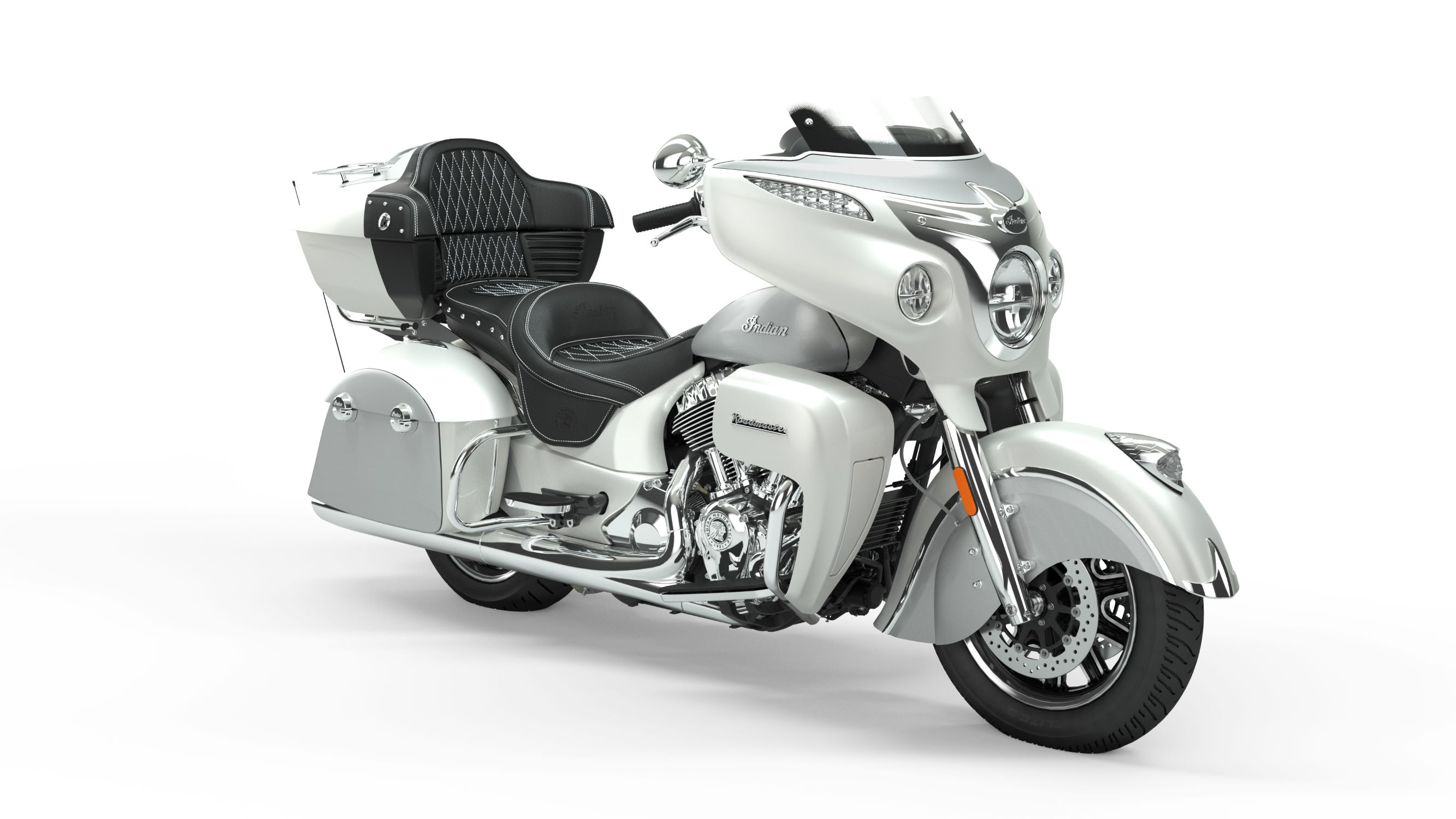 2019 Roadmaster Pearl White Over Star Silver Front Right 3Q
