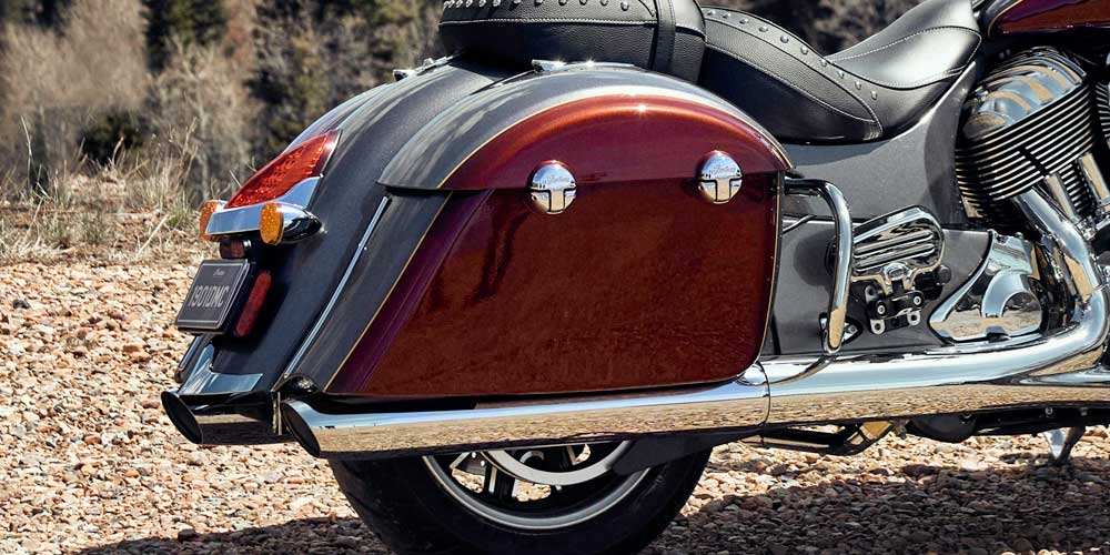 2019 Springfield Steel Grey over Burgundy Metallic Remote Locking Hard Saddlebags